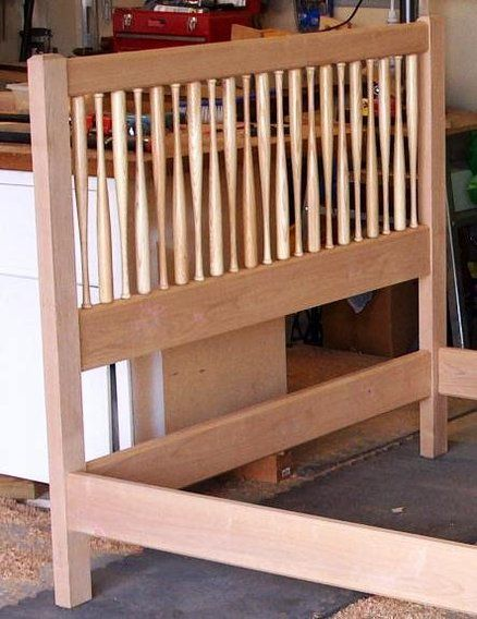 Baseball bat bed, would be neat with Louisville slugger bats. - Best 25+ Baseball Bed Ideas On Pinterest