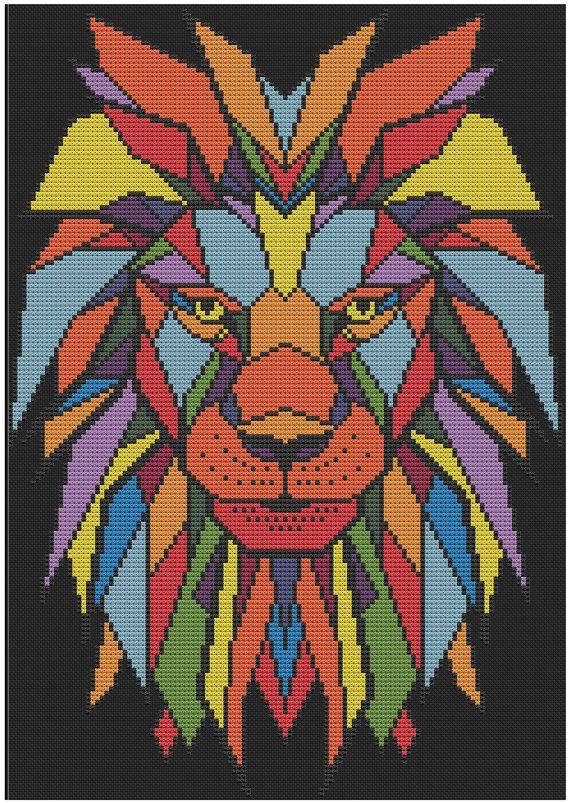 Geometric Lion Counted Cross Stitch Pattern X-Stitch PDF