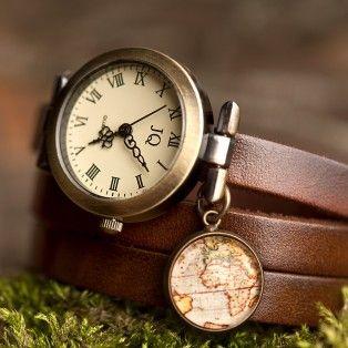 Коричневые кожаные часы с картой
