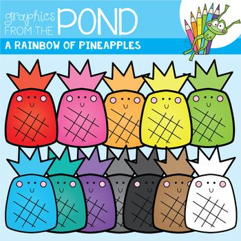 Happy Little Pineapples! A Rainbow of Pineapple Clipart Set From Graphics from the Pond.