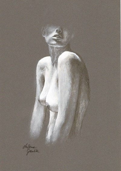 ORIGINAL DRAWING - Female nude 24 by Milena Gawlik, pencils on grey paper, artistic drawing of  naked woman