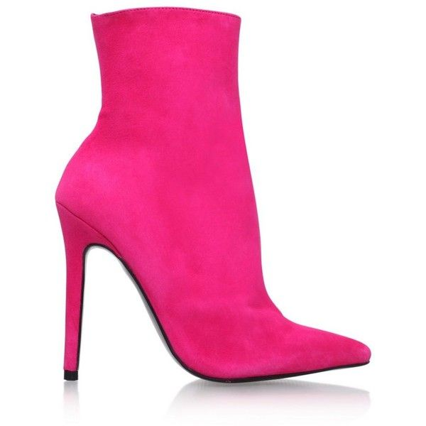 Carvela Pink 'Good' high heel ankle boots ($100) ❤ liked on Polyvore featuring shoes, boots, ankle booties, short suede boots, pink booties, pink suede boots, bootie boots and high heel bootie