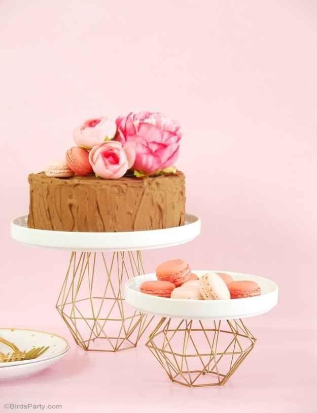 DIY Metallic Gold Geometric Cake Stand   21 Geometric Furniture Ideas To Spruce Up Your Interiors