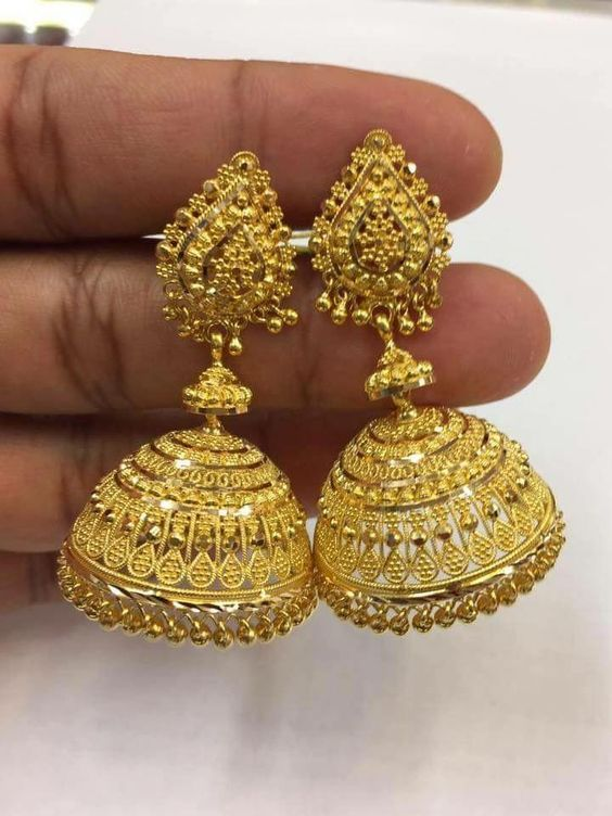 Gold Jhumka Earring Designs Latest 2019 Gold Buttalu