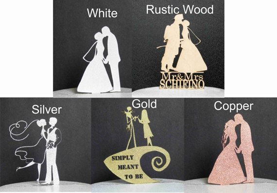 This Personalized Wedding Cake topper is beautiful Bride and Groom silhouette with fishing rod caught your heart!  Add your initials in the heart