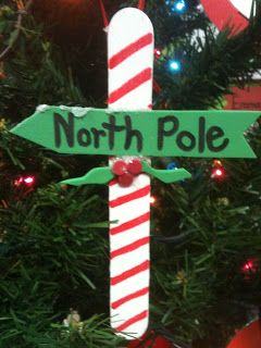 Cute North Pole ornament.  Use craft foam, craft stick, red paint pen, and a sharpie!