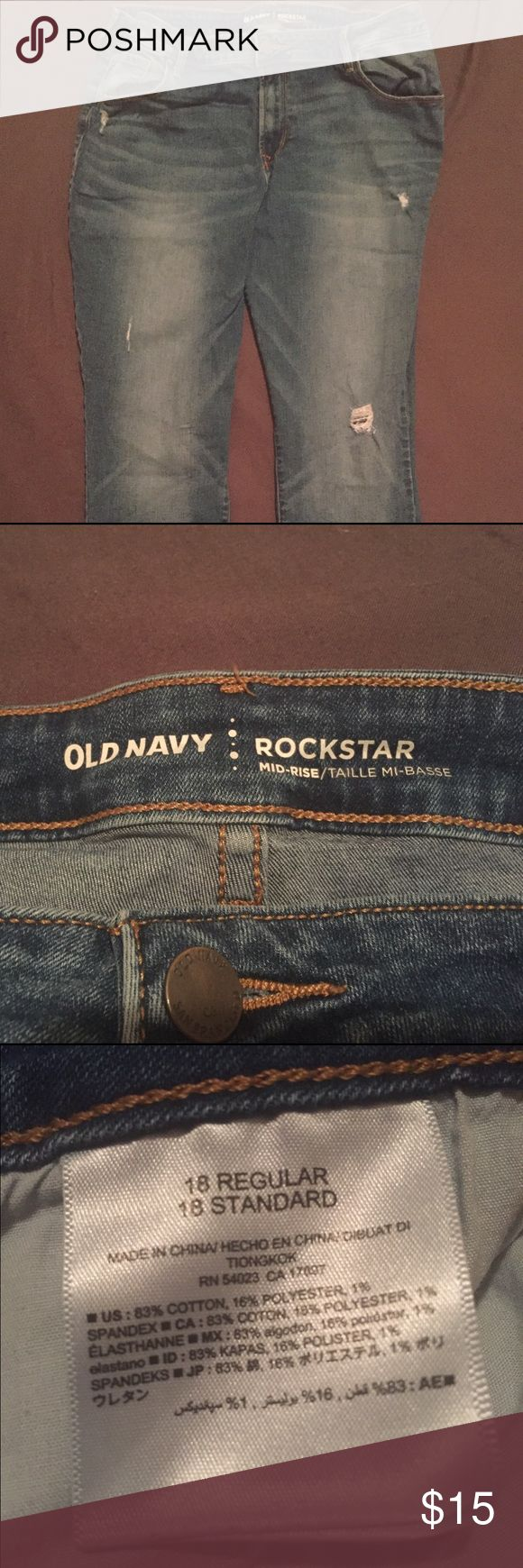 Old Navy Midrise Rockstar Jean Size 18 regular midrise rockstar jeans, gently worn. Sized out after WLS. Old Navy Jeans Straight Leg