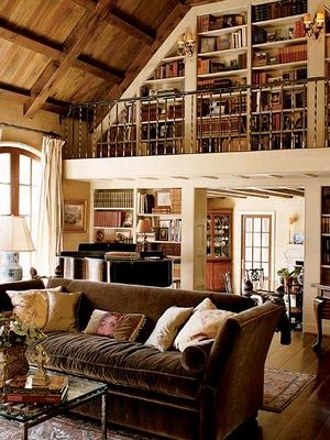 Loft Library this is what I am going to do above my fireplace, on the loft. I already have a library ladder...