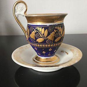 Tasse Empire en Porcelaine de Paris Début XIXè Fond Bleu Anse Crosse Napoleonic | eBay