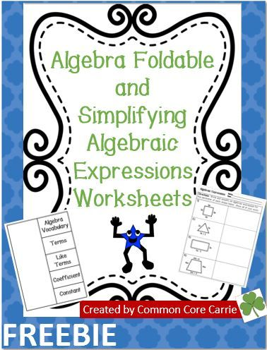This product includes an algebra foldable with the following vocabulary words: terms, like terms, coefficient and constant. Two worksheets on simplifying algebraic expressions are also provided. One worksheet has students examine incorrect student work. The students are asked to offer advice and to provide the correct solution. The other worksheet asks students to determine the perimeter and to simplify the algebraic expression of four different shapes.