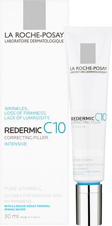 """La Roche-Posay Redermic C10 - Correcting Filler """"Vitamin C is very difficult to keep stable (it breaks down in contact with air) and a lot of vitamin C treatments don't really do a lot – however, Lierac has a wonderful, zesty vitamin C serum –Another vitamin C hero is La Roche Posay Redermic C treatment – clarifying, tightening anti-ageing product that actually does something. You could alternate with retinol."""""""