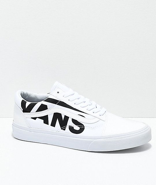 f80518d9eff385 Vans Old Skool Black Logo White Skate Shoes in 2019