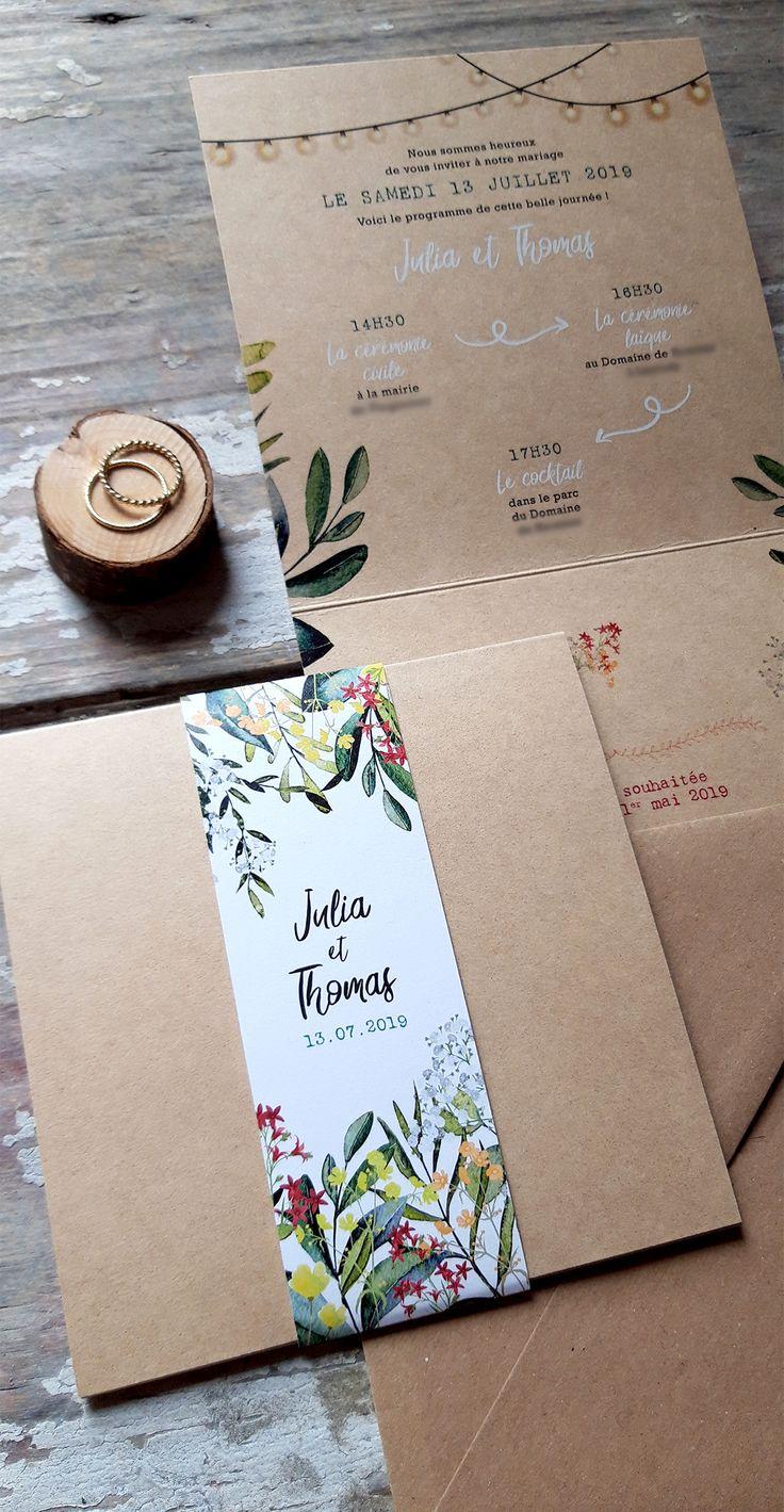 Faire half mariage Kraft stylish fleurs