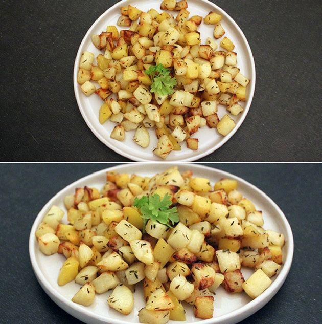 Små fine kartoffeltern, der steges sprøde i ovnen med smeltet smør - det er virkelig lækkert tilbehør.