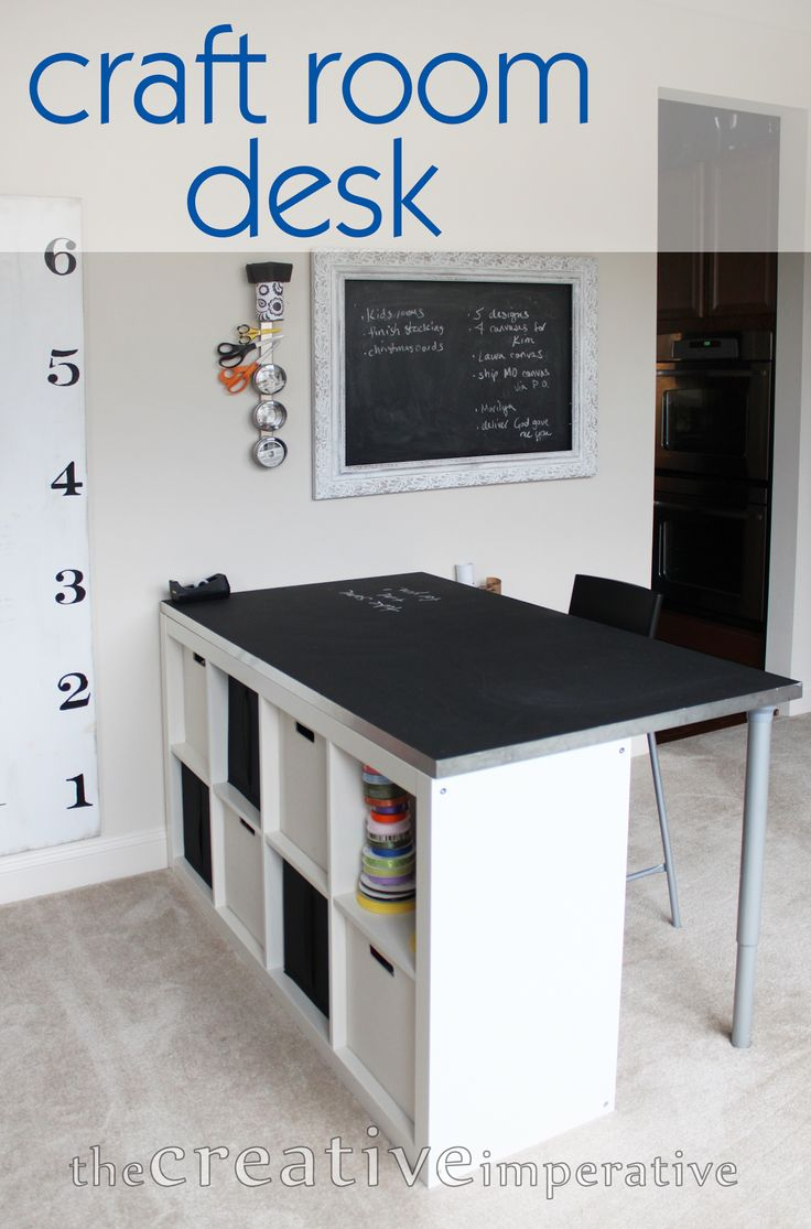 The Creative Imperative: Craft Room Desk with Shelves. Like the chalkboard and magnetic strip for organizing.