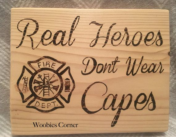 Firefighter gift, Real Heroes Don't Wear Capes, Gift for firefighters, thin red…