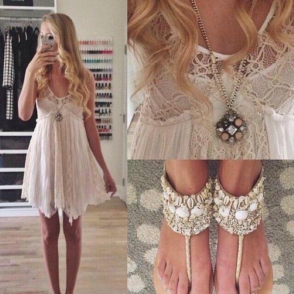 Lace boho dress and beach sandals