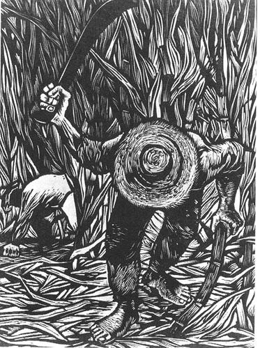 """""""Cortador de Caña,"""" Cane Cutter (1952), Linocut by Rafael Tufiño"""