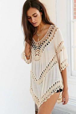 Short Sleeved Beachwear with Crochet Detail