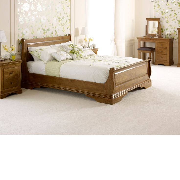 french louis solid oak 6ft super king size sleigh bed