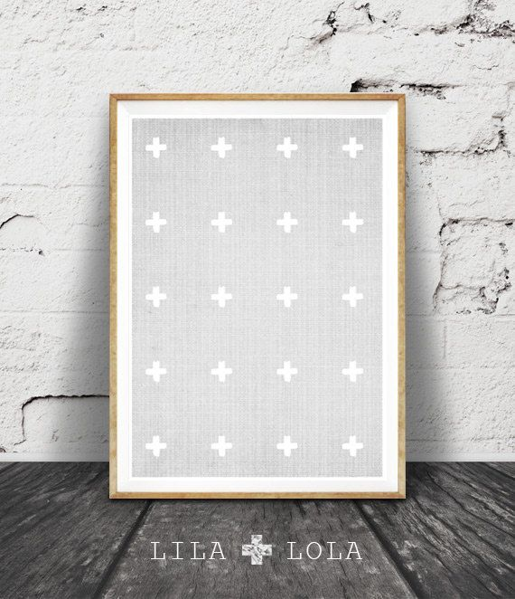 Express your personality, create the home you love! Grey and White Cross #1 is a contemporary downloadable print, featuring a brushstroke cross pattern