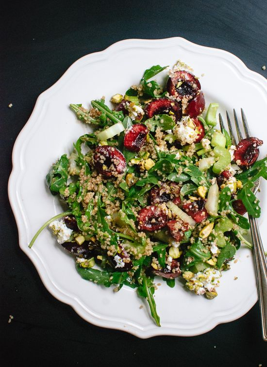 Cherry, couscous, arugula and pistachio salad in balsamic vinaigrette (recipe) - cookieandkate.com