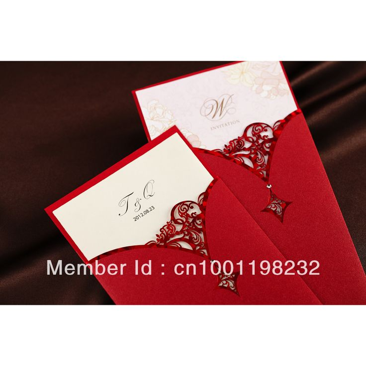 fast shipping wedding invitations%0A Free Shipping Personalized Cutout Design Red Wedding Invitation  Set of
