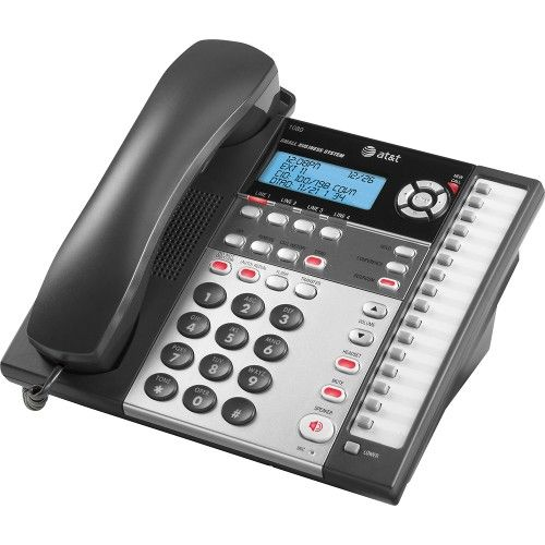AT&T – 1080 4-Line Expandable Corded Small Business Telephone with Digital Answering System – Black/White