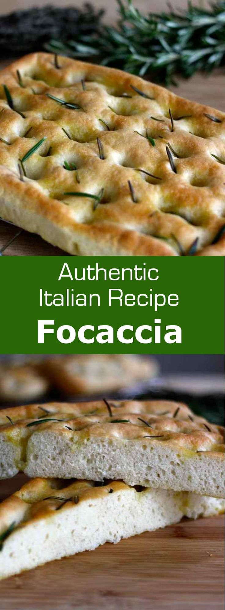 Focaccia di Genova is the original recipe for the traditional Italian bread with olive oil, salt and herbs, often including rosemary. #bread #italy