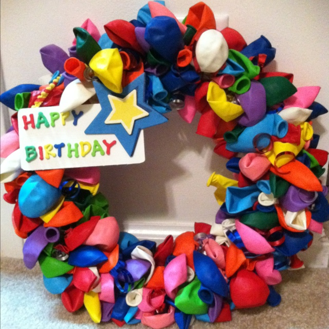 Birthday Balloon Wreath that I made for my 2 year old's party.