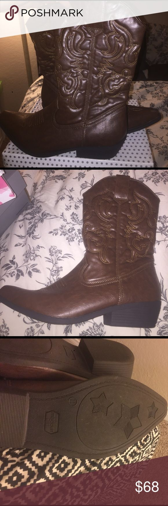 Steve Madden Madden girl cowboy boots, used once Size 11 Steve Madden Madden girl, dark brown cowboy boots, used once, EXCELLENT CONDITION and GREAT QUALITY Steve Madden Shoes Combat & Moto Boots