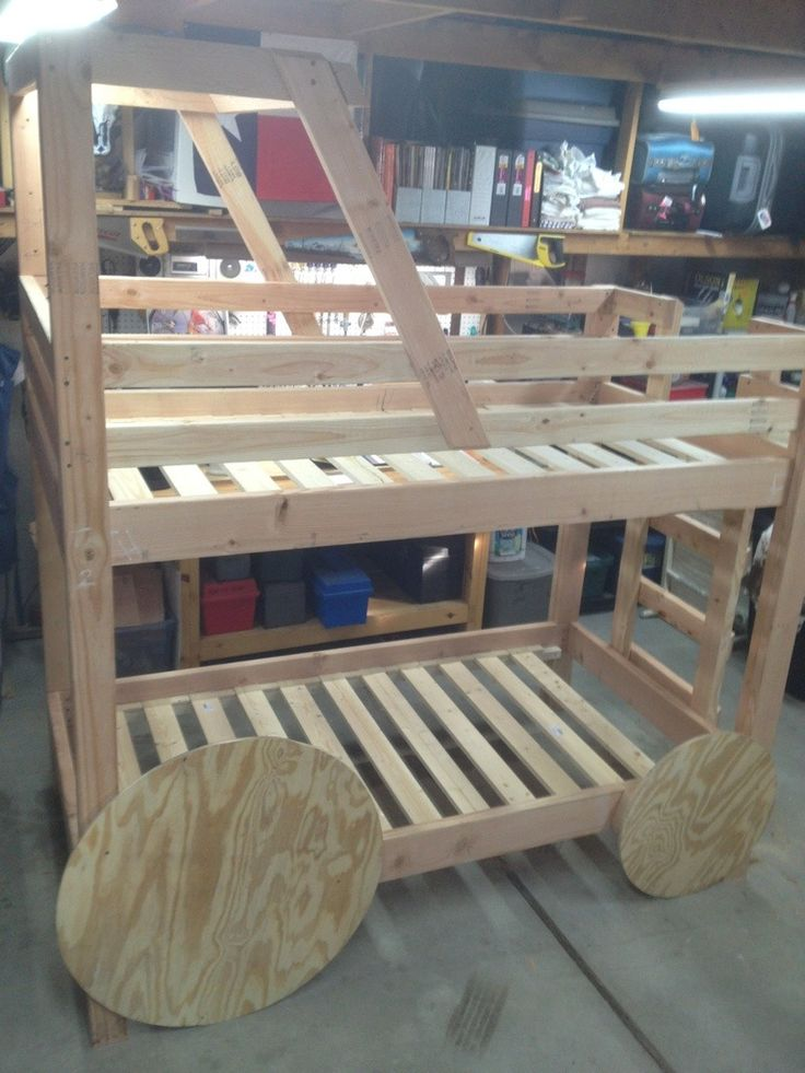 Step-by-Step DIY Tractor Bunk Beds Would so get James to build this for our future son it looks so cool