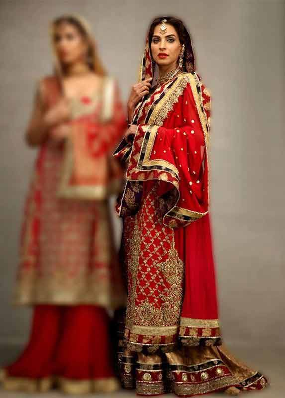e75038893a Elegant Pakistani bridal dress in red and golden color combinations 2018