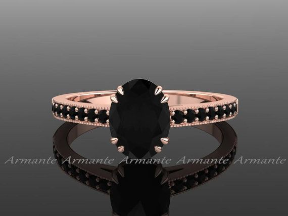 Black Diamond Engagement Ring, Natural Black Diamond Vintage style Engagement Ring 14K Rose Gold Oval Diamond Ring RE00014R $1,285.00 USD