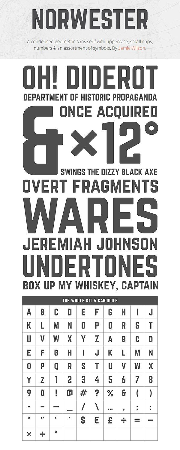 95 best fonts images on pinterest fonts sans serif fonts and norwester a condensed geometric sans serif with uppercase small caps numbers an assortment of symbols by jamie wilson biocorpaavc