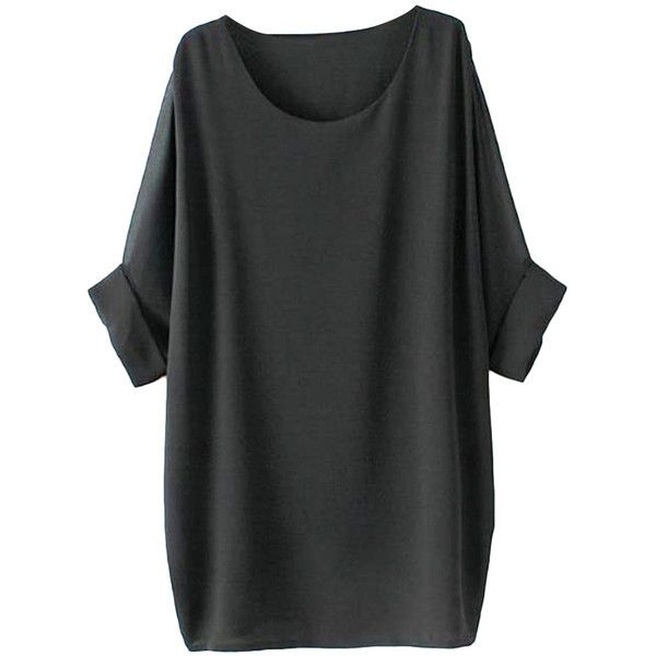 Half-sleeved Solid-tone Md-long Chiffon T-shirt ($28) ❤ liked on Polyvore featuring tops, t-shirts, dresses, shirts, elbow sleeve shirt, long sleeve half shirt, elbow length tee, long shirts and long length t shirts
