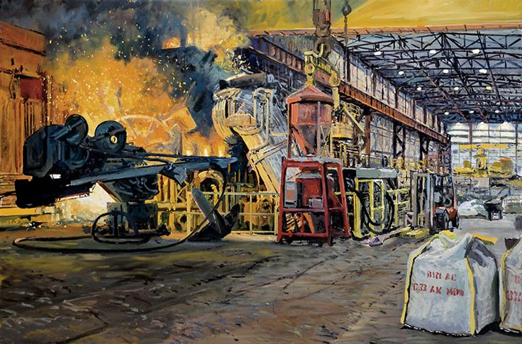 H.D. Tylle - Preparing to Tap the Furnace, Charter Steel, Charter Steel, Cleveland OHIO, USA, 2007, 31 x 47 inch, oil/canvas