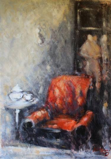 "Saatchi Art Artist simone Butturini; Painting, ""Red armchair and dresses"" #art"