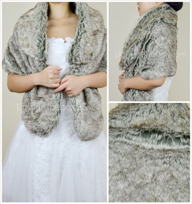 Grey faux fur wrap bridesmaids