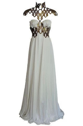 For Lorrica (Silk gown with lasercut leather chest. Design: Emma Griffiths.