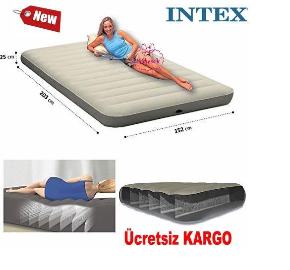Intex Tek Katlı Şişme Yatak Queen Deluxe 152x203x25cm
