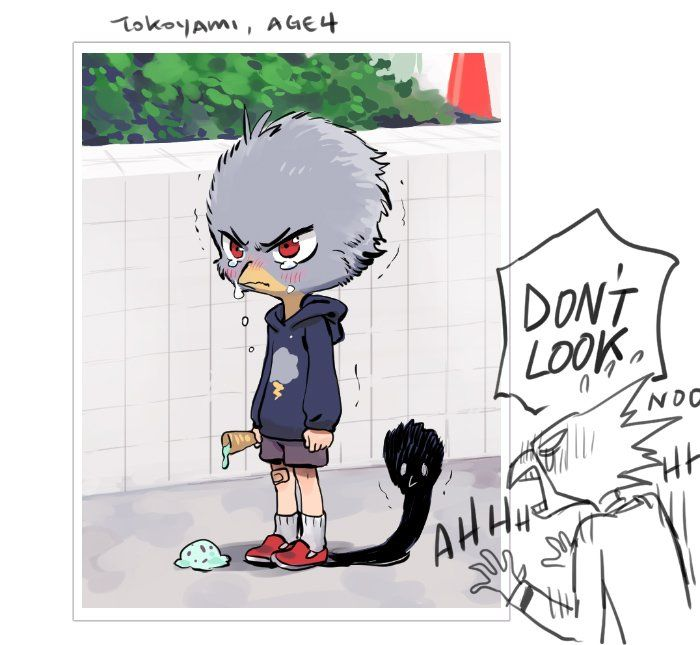 imagines tokoyami when he still just had down feathers