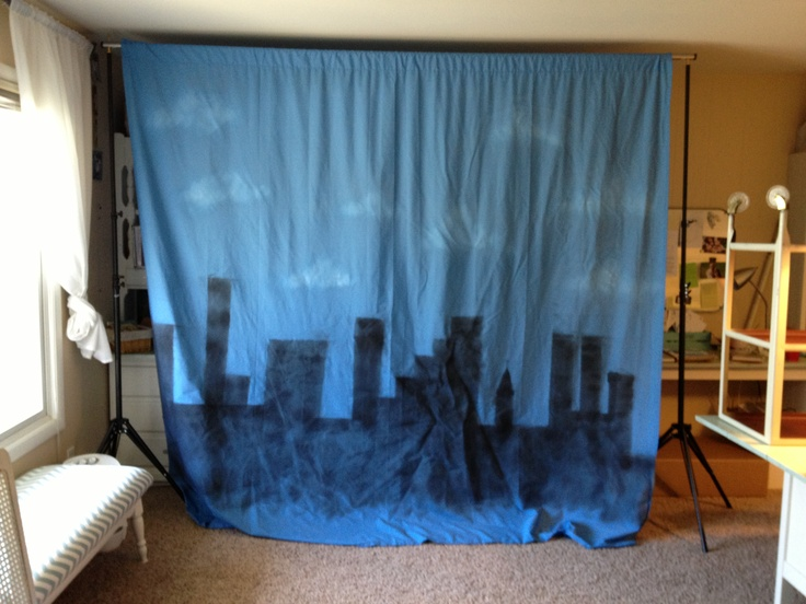 Sheet/city back drop for super hero party