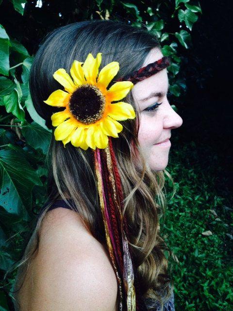 $24 Tribal Brown Yarn Braid with Sparkle Ribbon, Gypsy Halo, Silk Sunflower, Hair Accessory, Headpiece, EDC, Vintage, Handmade, Festival Fashion...