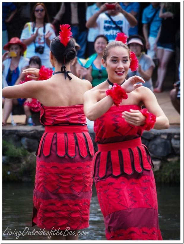 Dancing at the Polynesian Cultural Center on Oahu, Hawaii