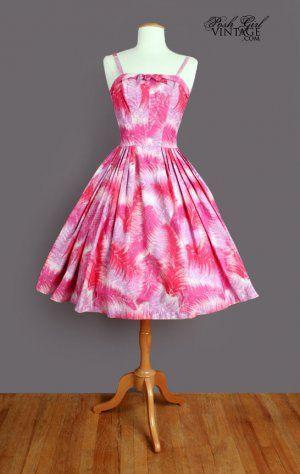 1950's Floral Pinks Kamehameha Hawaiian Print Dress - M/L Poshgirl Vintage