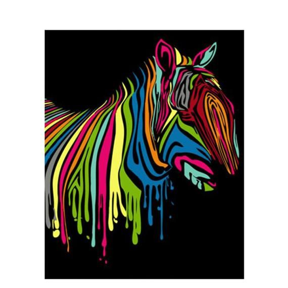 Rainbow Zebra Diy Paint By Number Kit Canvas Paint Brush Oil Painting Art Wall Decoration 40x50cm Zebra Painting Simple Oil Painting Painting