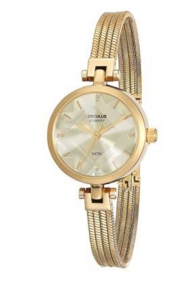 23533LPSVDB1 Relógio Feminino Dourado Seculus   Guest Club