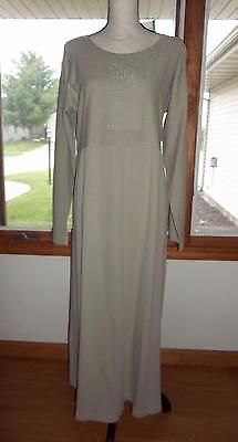 NEW SK Sport Womens Large Khaki Empire Waist Cotton Maxi Dress Boho Hippie NWT  | eBay