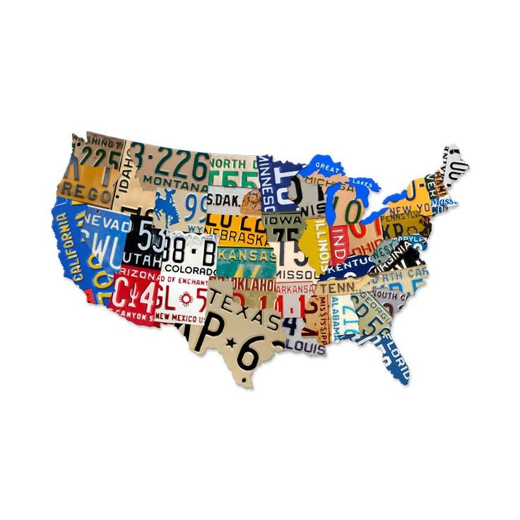 $99.97 Retro License Plates  Map Tin Sign 35 x 21 Inches